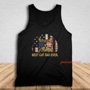 Best Cat Dad Ever American Flag Independence Day Tank Top