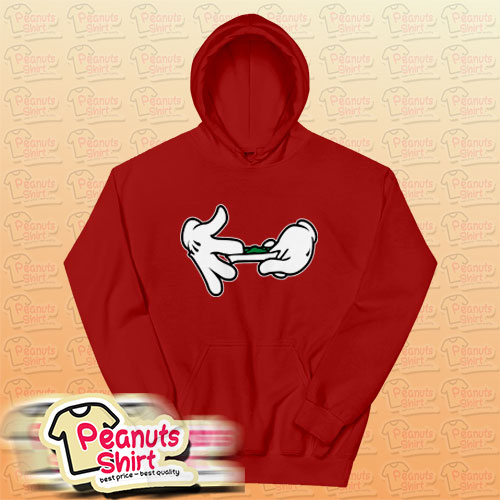 Mickey Mouse Hands Rolling Blunt Swag Red Hoodie