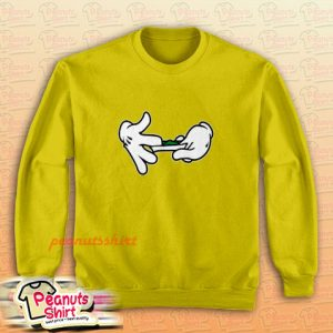 Mickey Mouse Hands Rolling Blunt Swag Yellow Sweatshirt